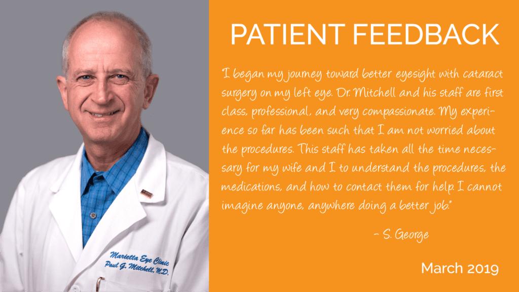 Paul Mitchell, MD is a cataract surgeon at the Marietta Eye Clinic.
