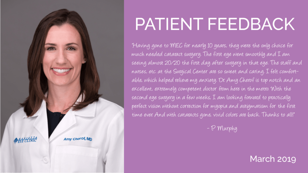 Amy Cherof is a comprehensive ophthalmologist and cataract surgeon at the Marietta Eye Clinic.