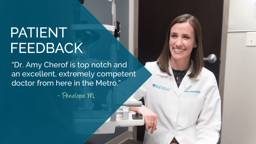 Dr. Amy Cherof is a comprehensive ophthalmologist and cataract surgeon at the Marietta Eye Clinic.