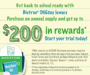 Earn up to $200 in rewards on BioTrue ONEDay contact lenses at the Marietta Eye Clinic.
