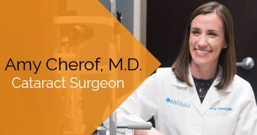 Amy Cherof, MD provides cataract surgery services at the Marietta Eye Clinic.