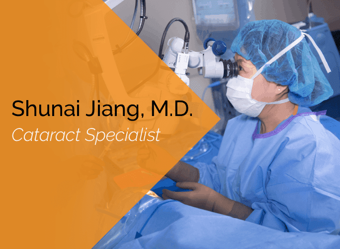 Dr. Jiang is an ophthalmologist, cataract surgeon, and glaucoma specialist at the Marietta Eye Clinic.