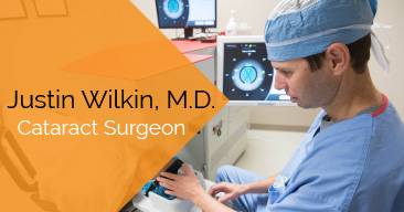 Justin Wilkin, M.D. provides cataract surgery services at the Marietta Eye Clinic.